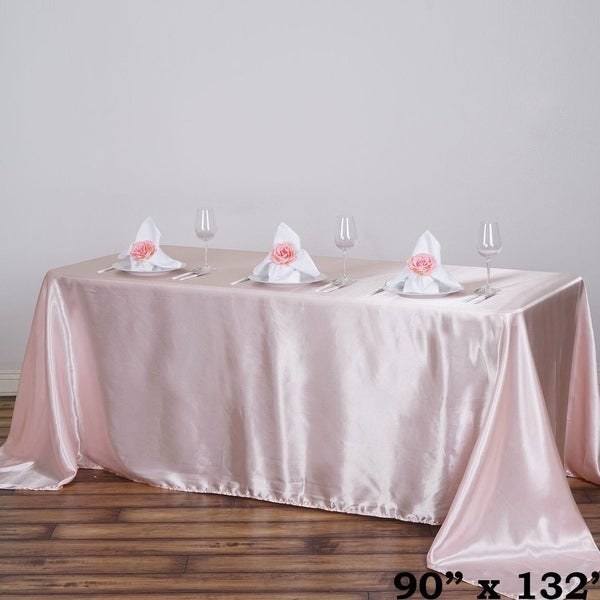 Shop 90 X 132 Quot Rectangle Satin Tablecloth Blush Free