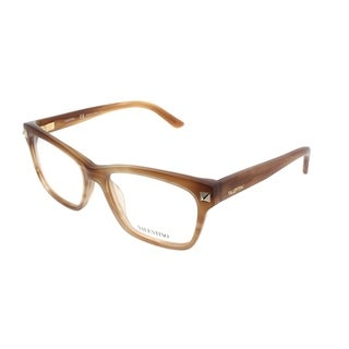 Valentino Square V2667 772 Women Striped Honey Matte Frame Eyeglasses