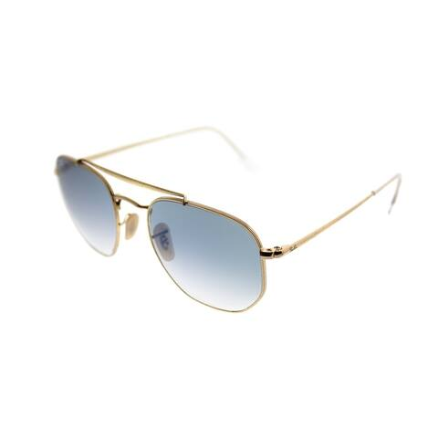 f2e314a6c4397 Ray-Ban Square RB 3648 The Marshall 001 3F Unisex Gold Frame Blue Gradient