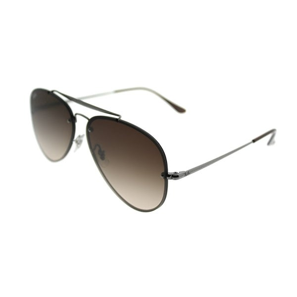 b1d8a91ffb Shop Ray-Ban Aviator RB 3584N Blaze Aviator 004 13 Unisex Gunmetal Frame  Brown Gradient Lens Sunglasses - On Sale - Free Shipping Today - Overstock  - ...