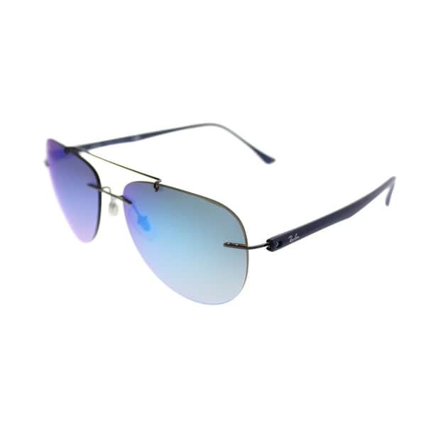 5a78e1a68f65 Shop Ray-Ban Aviator RB 8059 004/B7 Unisex Gunmetal Frame Blue Gradient,  Mirror Lens Sunglasses - Free Shipping Today - Overstock - 20224333