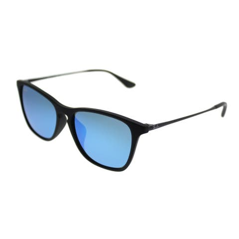Ray-Ban Junior Square RJ 9061SF Asian Fit 700555 Kids Rubber Black Frame Blue Mirror Lens Sunglasses