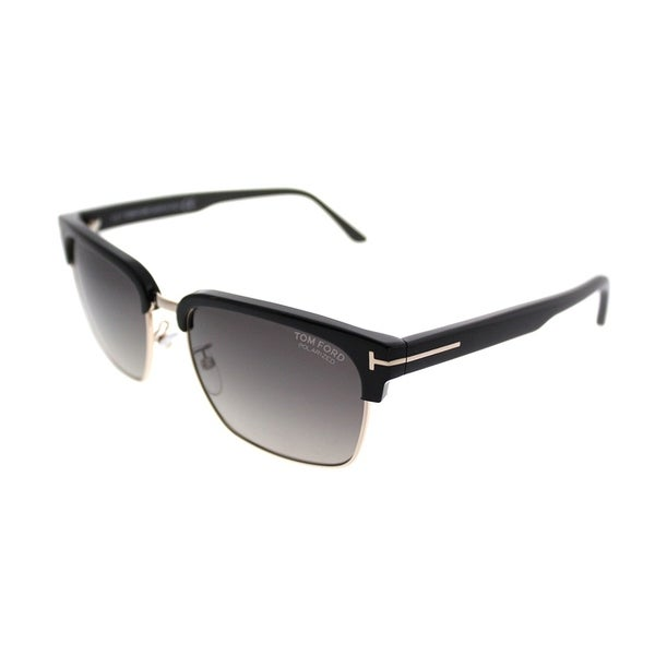 Tom Ford Square TF 367 River 01D Unisex Shiny Black Gold Frame Grey Polarized Lens Sunglasses. Opens flyout.