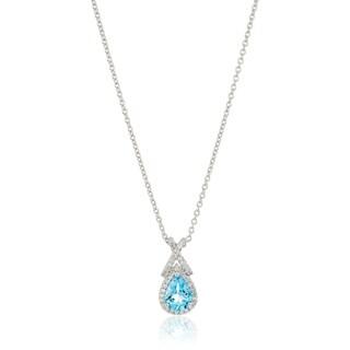 "Sterling Silver Swiss Blue Topaz & White Topaz Pendant Necklace, 18"""