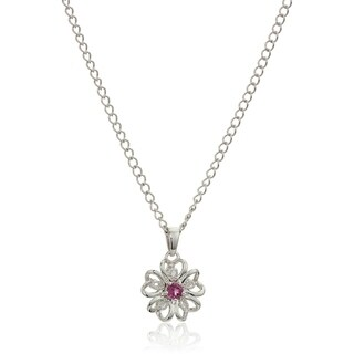 Sterling Silver Pink Tourmaline Flower Pendant Necklace, 18""