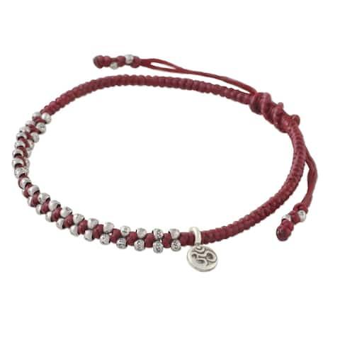 Handmade Silver Bohemian Life in Crimson Bracelet (Thailand) - Red