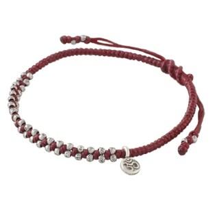Handmade Silver 'Bohemian Life in Crimson' Bracelet (Thailand)