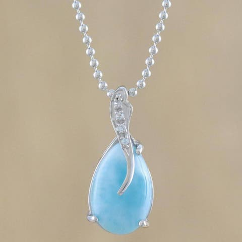 Handmade Sterling Silver 'Cradled Drop' Larimar Zirconia Necklace (Thailand)