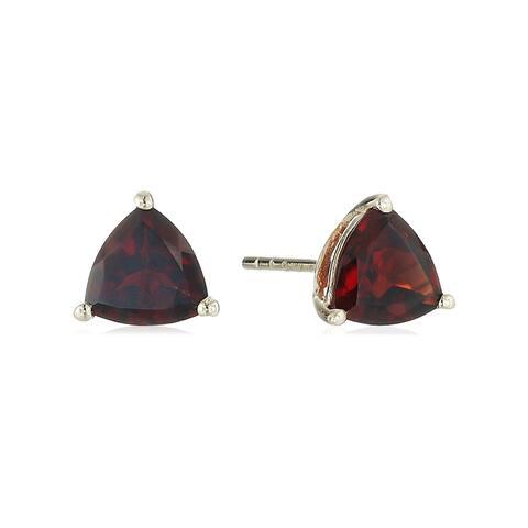 Pinctore 10k Yellow Gold Red Garnet Trillion Stud Earrings
