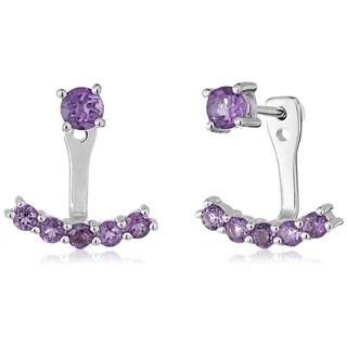 Pinctore Sterling Silver African Amethyst Back Stud Earring Cuff - Purple