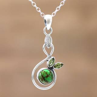 Handmade Sterling Silver 'Spring Beauty' Peridot Turquoise Necklace (India)