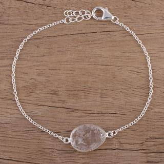 Handmade Sterling Silver 'Trendy Egg' Quartz Bracelet (India)