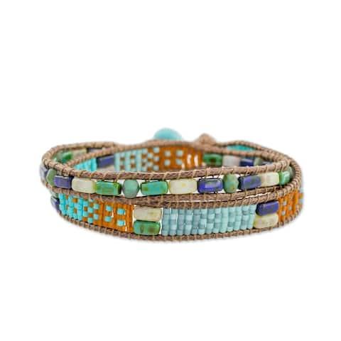 Handmade Glass Beaded Winds of Atitlan Bracelet (Guatemala)