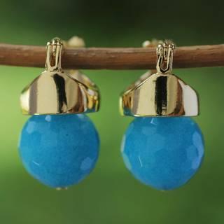 Handmade Gold Overlay 'Blue Acorn' Agate Earrings (Brazil)