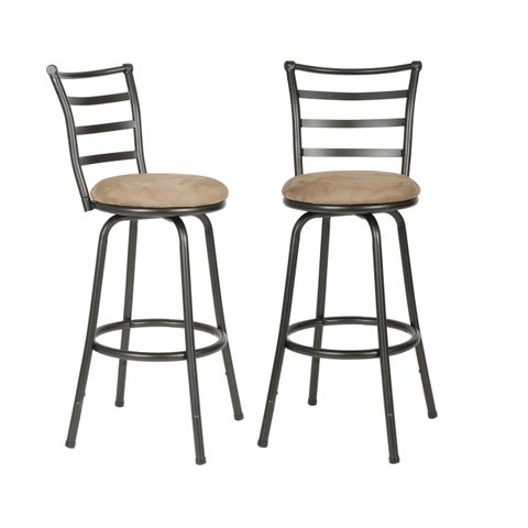 Round Seat Bar/ Counter Height Adjustable Metal Bar Stools, Set of 2