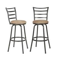 Round Seat Adjustable Swivel Bar/ Counter Height Stools (Set of 2)