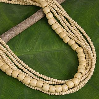 Natural Wood Beaded Handmade Little leaf Wood 'Hawaii Dance' Necklace made in Thailand