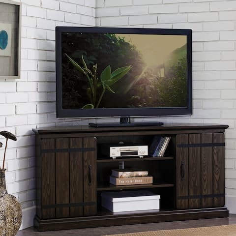 Hunt Club Rustic Oak Wood 55 Inch Corner TV Stand