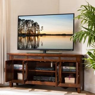 Rustic Oak Wood/ Slat Tile 56 Inch Corner TV Stand