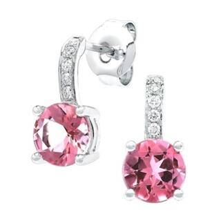 Pink Tourmaline And Diamond Drop Earrings In 14k White Gold