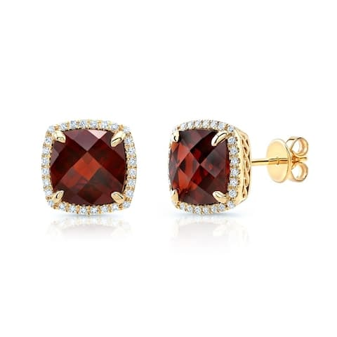 Garnet Cushion And Pave Diamond Earrings In 14k Yellow Gold (1/5 Ct. Tw.)