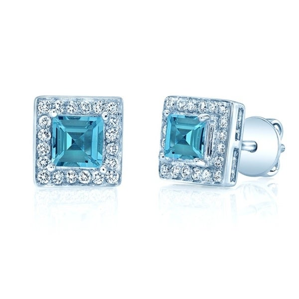 a7cb26e4d Shop Aquamarine And Diamond Square Halo Earrings In 14k White Gold - Free  Shipping Today - Overstock - 20225308