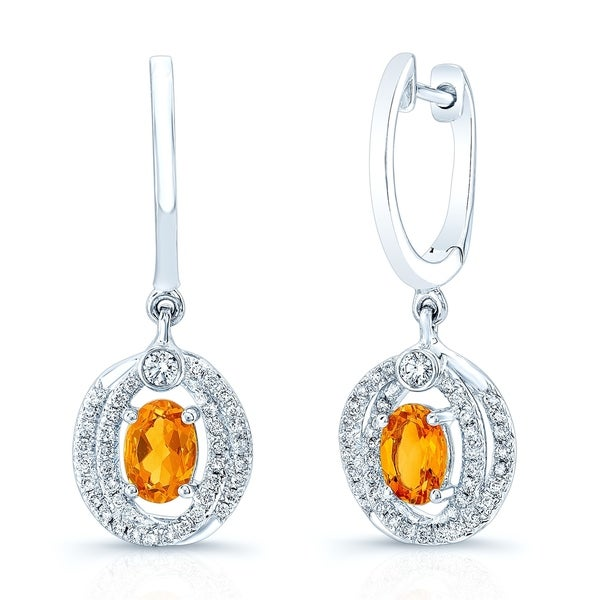 bf174460a Shop Oval Citrine & Diamond Earrings In 14k White Gold - Free Shipping  Today - Overstock - 20225331