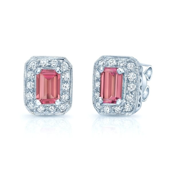 Pink Tourmaline Octagon Earrings In 14k White Gold