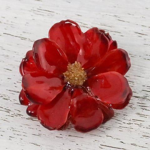 Handmade Natural Cosmos 'Blooming Cosmos in Crimson' Brooch (Thailand)