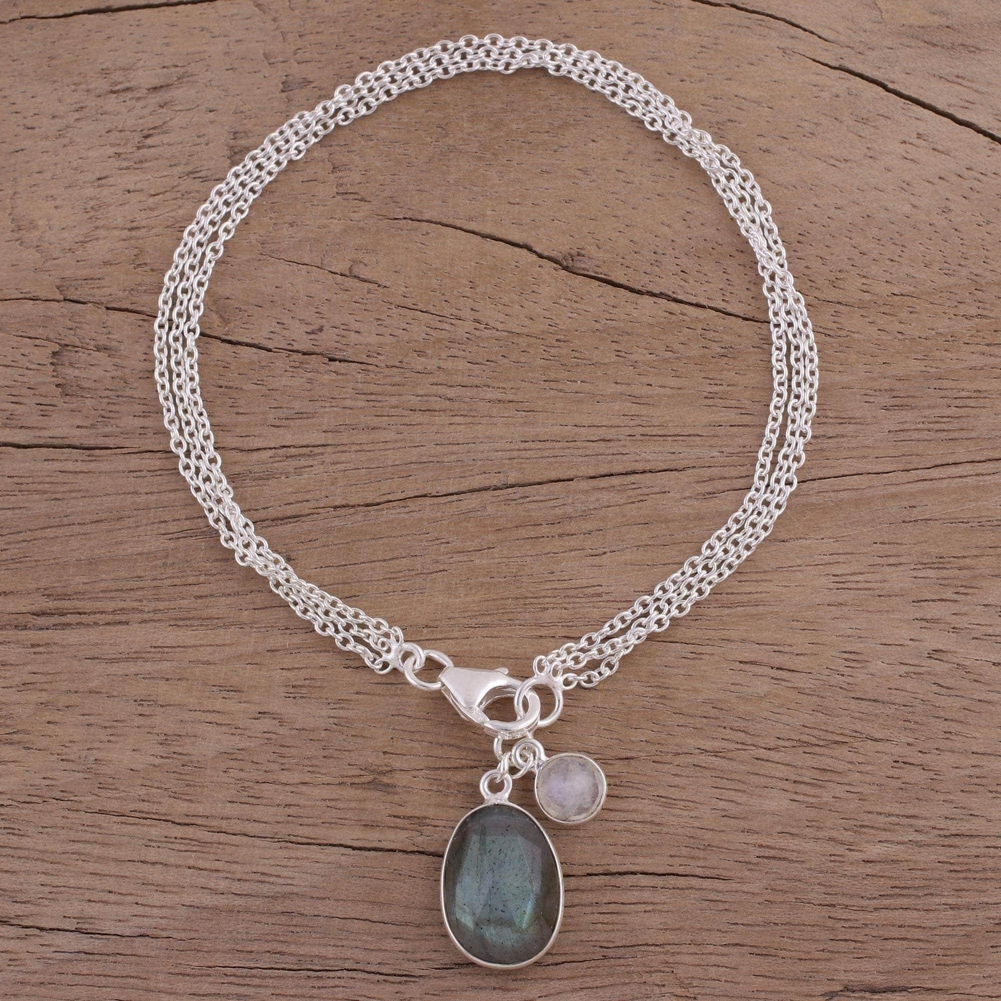 Dainty Moonstone 925 Sterling Silver Bracelet Indian Jewellery