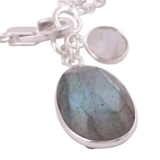 Handmade Sterling Silver Ling Harmony Labradorite Rainbow Moonstone Bracelet