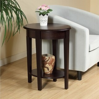 14x20x24 Oval Chairside End Table with Red Cocoa Woodgrain Finish