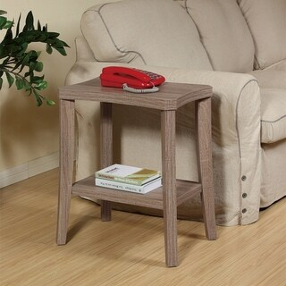 14x20x24 Curved Chairside End Table with Rustic Grey Oak Woodgrain Finish