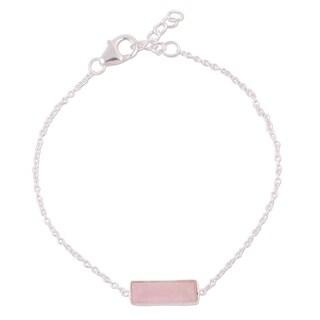 Handmade Sterling Silver 'Elegant Prism' Rose Quartz Bracelet (India)