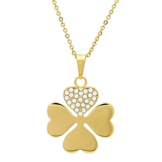 Piatella Ladies Gold Tone Clover Pendant Adorned with Swarovski Elements Crystals