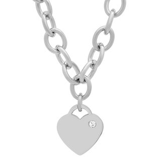 Piatella Ladies Stainless Steel Rolo Heart Necklace Adorned with Swarovski Elements Crystals in 2 Colors
