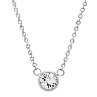 Piatella Ladies Stainless Steel Solitaire Adorned with Swarovski Elements Crystals Necklace in 3 Colors