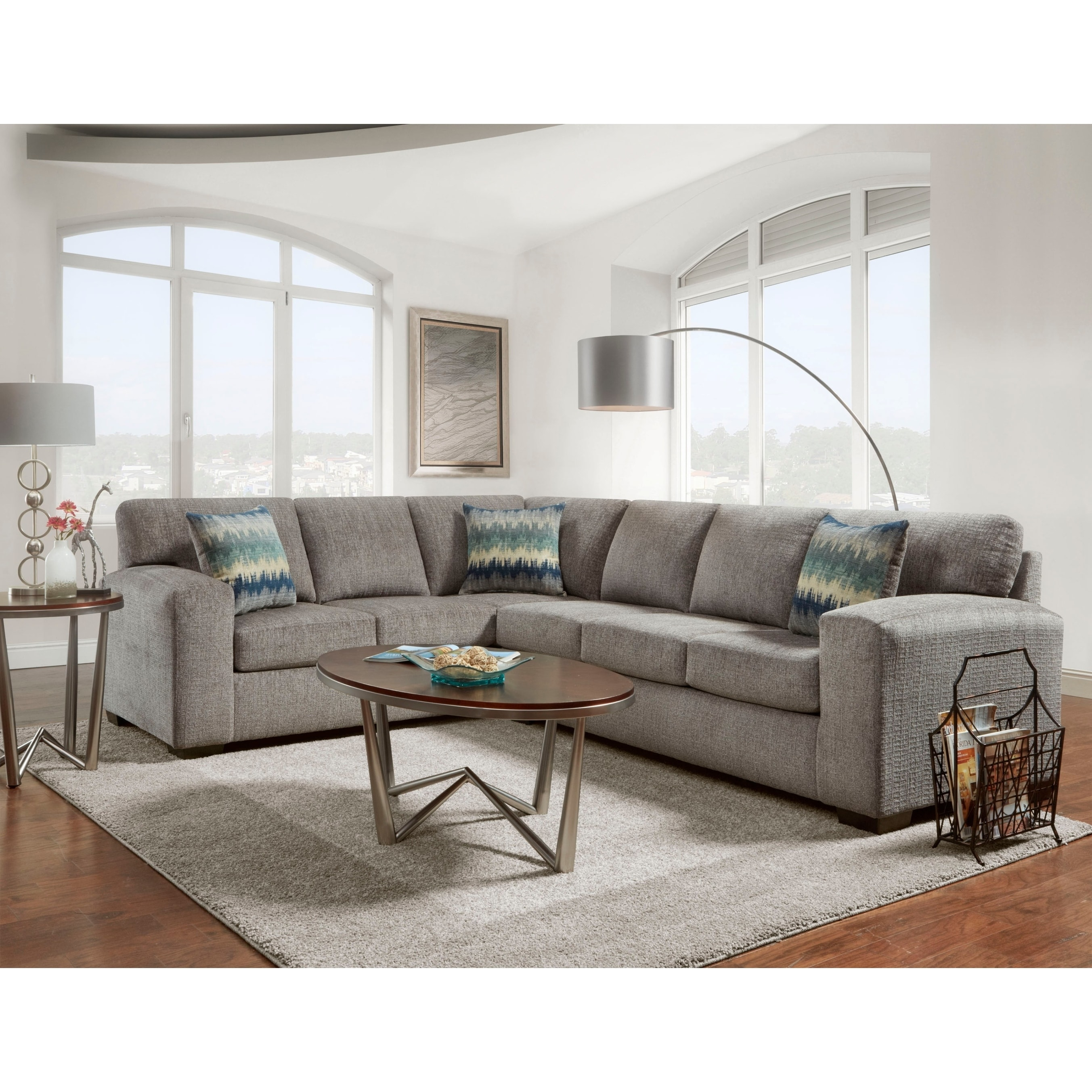 Bergen Silverton Pewter Fabric Sectional Sofa