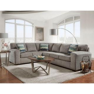 Bergen Silverton Pewter Fabric Sectional Sofa
