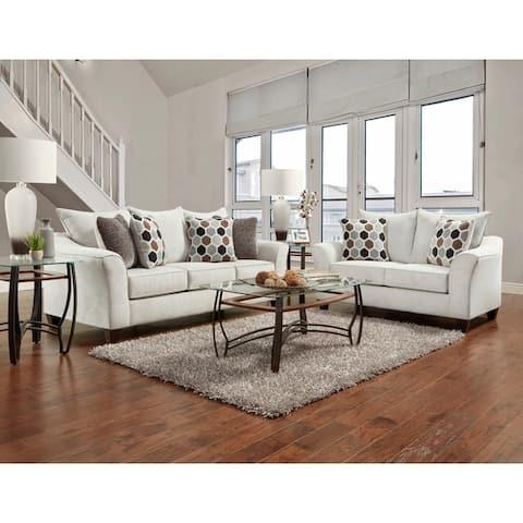 Camero Fabric Pillowback Sofa and Loveseat Set