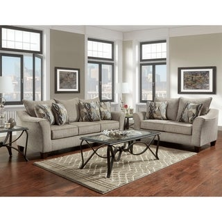 Camero Fabric Pillowback Sofa and Loveseat Set (2 options available)
