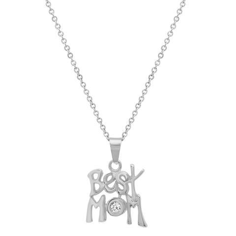 "Piatella Ladies Stainless Steel Adorned with Swarovski Elements Crystals ""Best Mom"" Pendant"