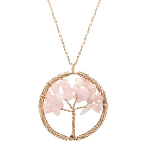 Piatella Ladies Gold Tone Brass Gemstone Tree of Life Necklace in 4 Colors