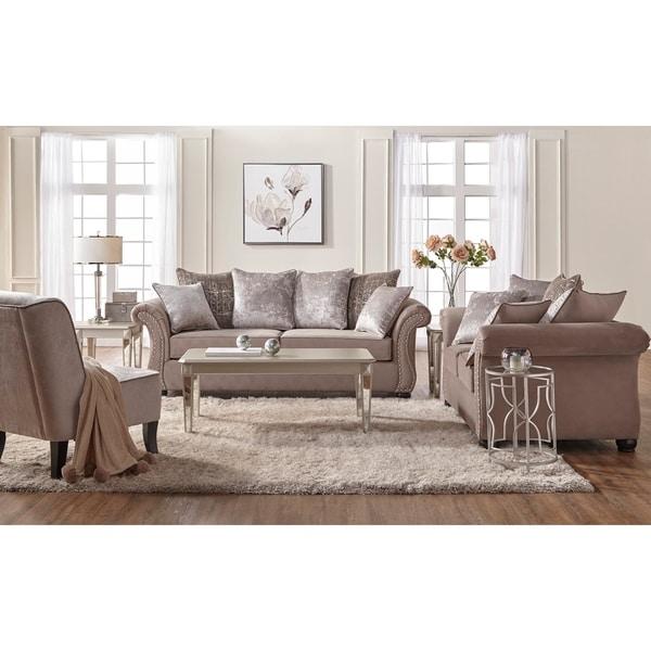 Colorful Living Room Sets: Shop Silver Orchid Dana Sand Color Microfiber Nailhead