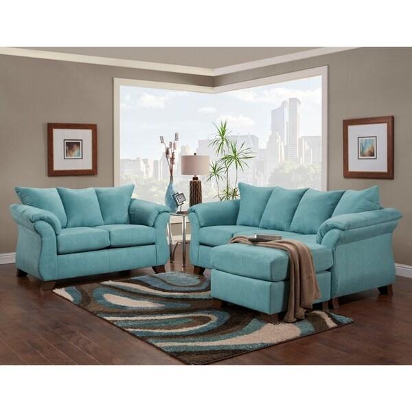 Norris Sensations Capri Microfiber Pillow Back Sofa W Chaise And Loveseat Set