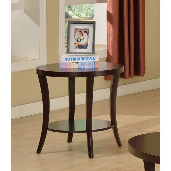 Perth Espresso Round End Table With Shelf Free