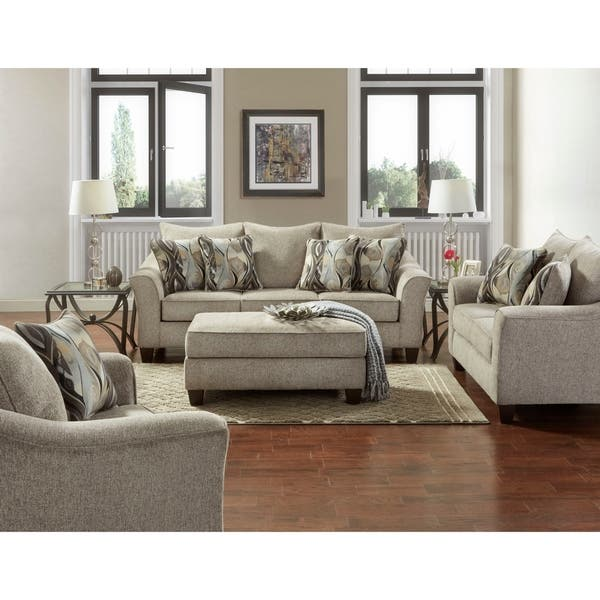 Camero Fabric 4 Piece Neutral Textured Living Room Set Overstock 20227153