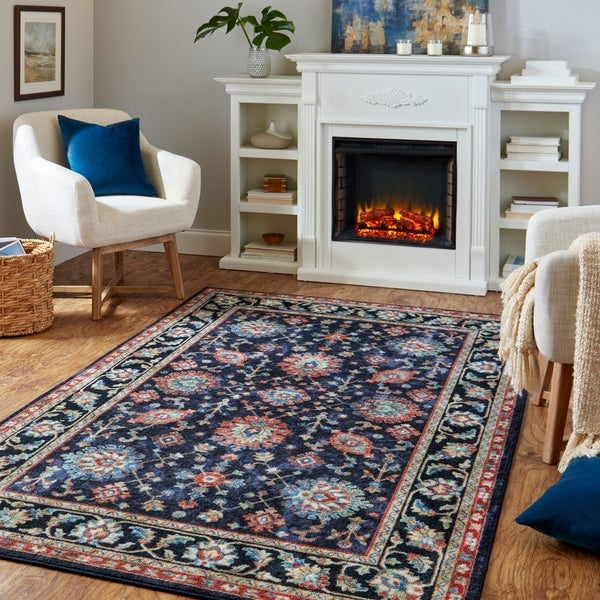 Copper Grove Sagarmatha Bordered Purple Traditional Distressed Floral Area Rug