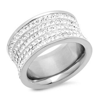 Piatella Ladies Stainless Steel 5 Row Crystal Ring in 2 Colors