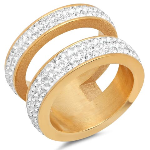 Piatella Ladies Gold Tone Crystal Pave Double Ring
